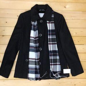 🌹Nautica wool blend pea coat charcoal/Black,Scarf